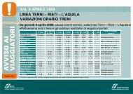 Terni L'Aquila dal 9 aprile 09 - Trenitalia