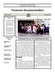May 2001 - Trenton Donauschwaben Association