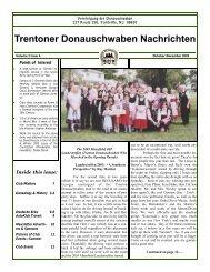 October 2003 - Trenton Donauschwaben Association