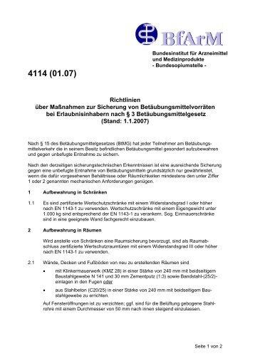 Richtlinien über Maßnahmen zur Sicherung von ... - BfArM
