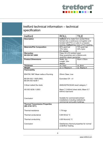 tretford technical information – technical specification
