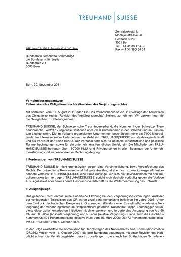 2011 Vernehmlassung Verjährungsrecht - Schweizerischer ...