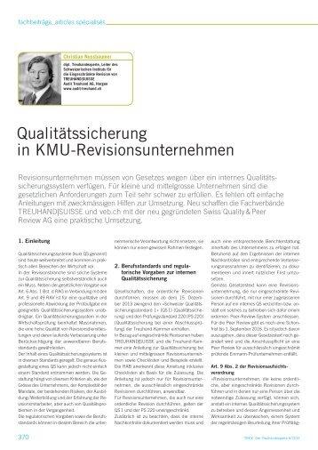 Qualitätssicherung in KMU-Revisionsunternehmen