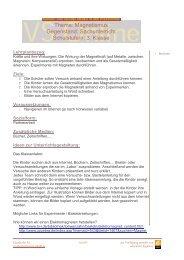 Thema: Magnetismus Gegenstand: Sachunterricht Schulstufe/n: 3 ...