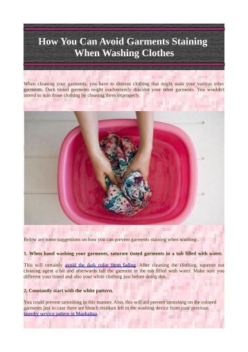 How You Can Avoid Garments Staining When Washing Clothes