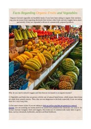 Facts Regarding Organic Fruits and Vegetables