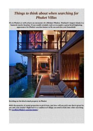 Things to think about when searching for Phuket Villas