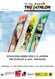 Ausschreibung 11. Triathlon 2008 - RAIKA Tri Team Telfs