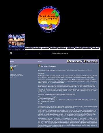 Mauisun's LivingRoom - How To Use a Compressor - The Blue Guitar