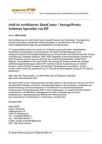 eSell ist zertifizierter DataCenter / StorageWorks ... - eSell GmbH