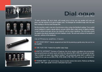 PrimaLuna DiaLogue Amplifier Info Sheet - Pacific Hi Fi Liverpool
