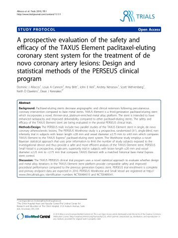 A prospective evaluation of the safety and efficacy ... - BioMed Central
