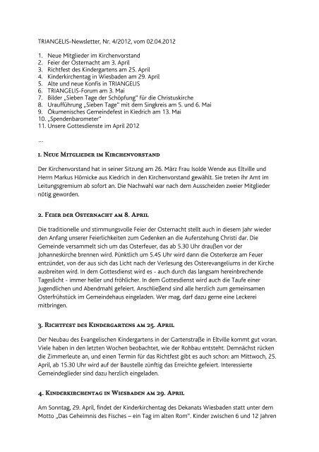 TRIANGELIS-Newsletter, Nr - Triangelis.de