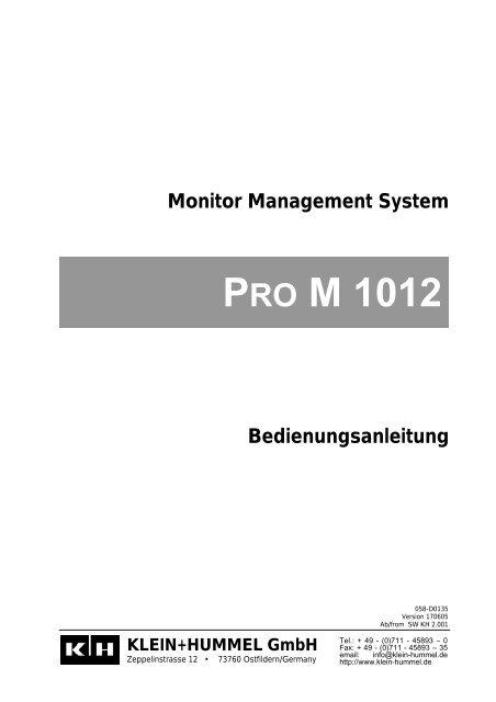 Bedienungsanleitung - Klein + Hummel