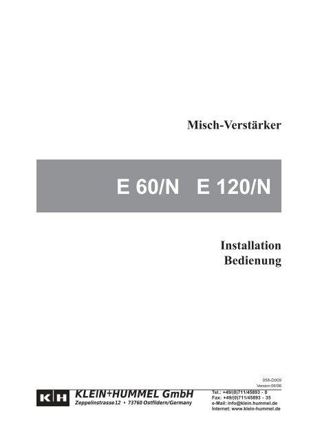 Installation, Operation (German) - Klein + Hummel