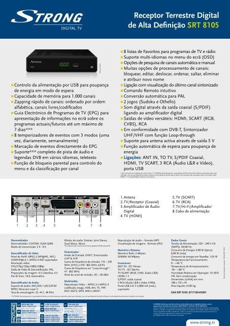 Receptor Terrestre Digital de Alta Definição SRT 8105 - STRONG ...