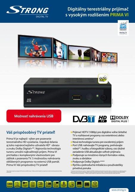 Digitálny terestriálny prijímač s vysokým rozlíšením PRIMA VI