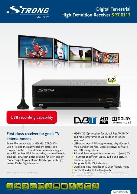 Digital Terrestrial High Definition Receiver SRT 8113 - STRONG ...
