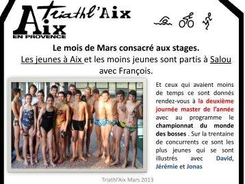 Newsletter du mois de mars 2013 - Triathlaix