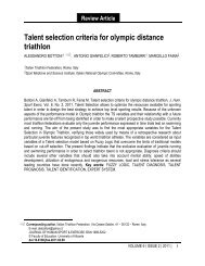 Talent selection criteria for olympic distance triathlon - International ...