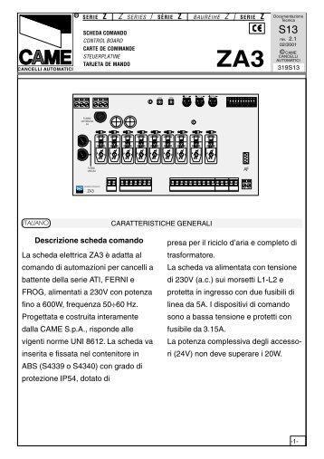 Schema Elettrico Za3 Came : Descrizione quadro il elettrico zc è adatto al