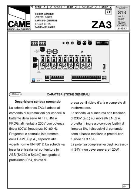 Descrizione Scheda Comando La Scheda Elettrica Za3 ã Tribpt