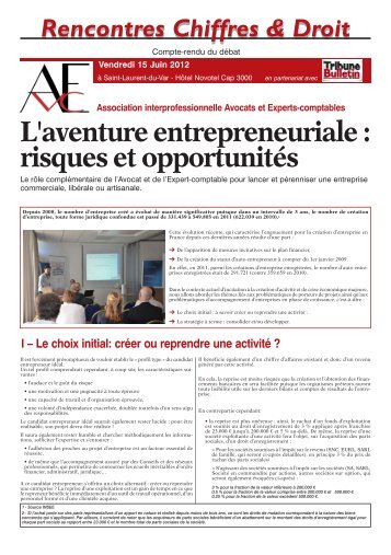 L'aventure entrepreneuriale - Tribune Bulletin Côte d'Azur