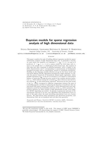 Bayesian models for sparse regression analysis of high dimensional ...