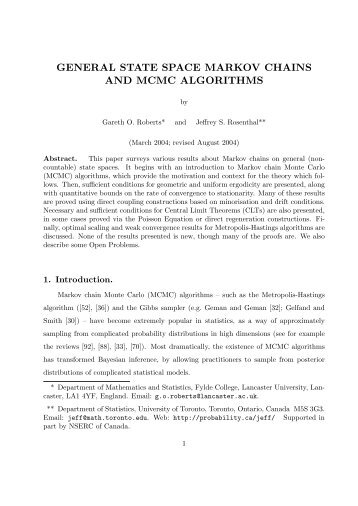 general state space markov chains and mcmc ... - probability.ca