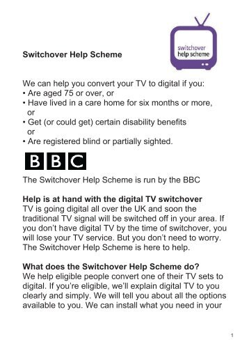 Switchover Help Scheme We can help you convert your TV to digital ...