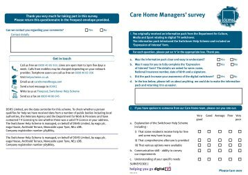Care homes questionnaire - Switchover Help Scheme