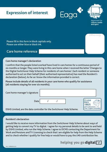 Expression of interest form (EOI) (pdf 2mb) - Switchover Help Scheme
