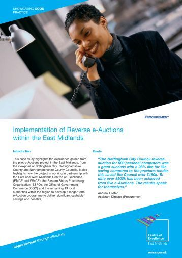 Implementation of Reverse e-Auctions within the East Midlands