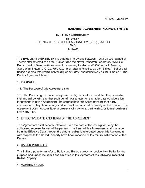 Draft Bailment Agreement