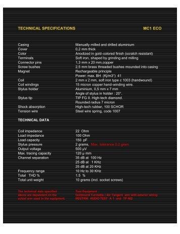 MC1 eco TECHNICAL SPECIFICATIONS - Audioarts