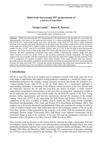 Multi-Scale Stereoscopic PIV measurements of a Jet in a Cross-Flow ...
