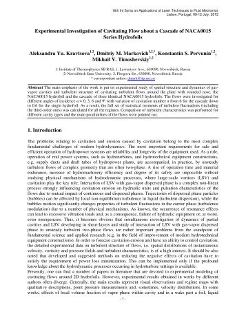 Experimental Investigation of Cavitating Flow about a Cascade of ...