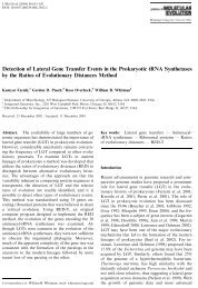 Detection of Lateral ene Transfer Events in the Prokaryotic tRNA ...