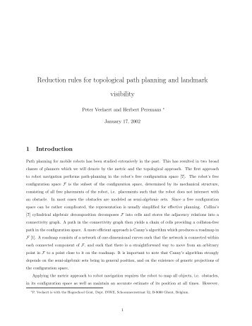Reduction rules for topological path planning ... - Hogeschool Gent