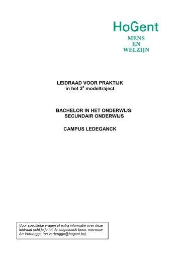 LEIDRAAD VOOR PRAKTIJK in het 3 modeltraject BACHELOR IN ...