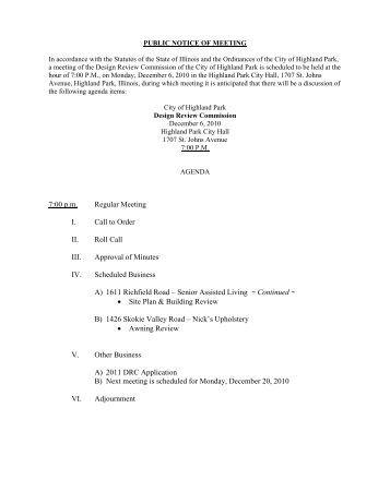 Digital Packet - DRC - 12.06.10.pdf - Highland Park, IL - Official ...