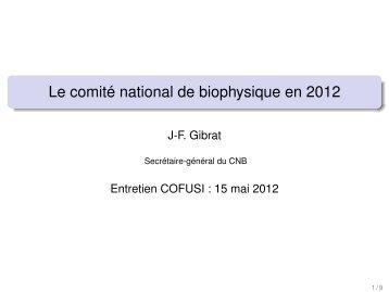 Comité National de Biophysique (CNB/IUPAB)