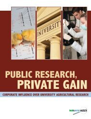 Public Research, Private Gain - Food & Water Watch