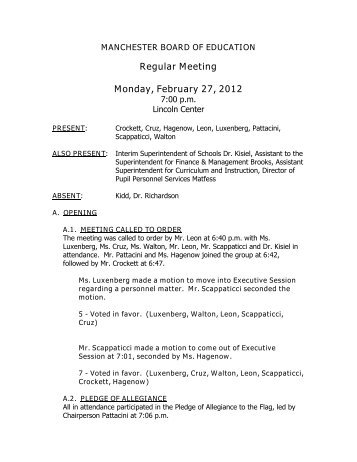Minutes 02/27/12 - Manchester Public Schools