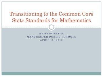 Powerpoint for Mathematics K-8 - Manchester Public Schools