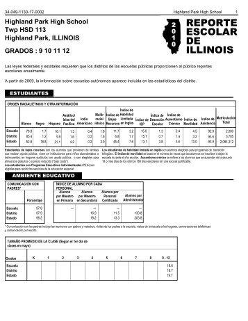 reporte escolar de illinois - Township High School District 113