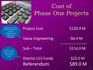 Cost of Phase One Projects