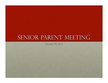 Senior Parent Meeting PowerPoint