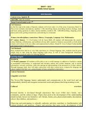 DRAFT – 2012 Middle School Spanish Unit Overview Learning ...
