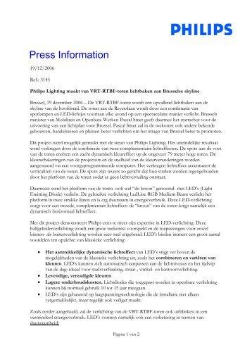 Persbericht: Philips Lighting maakt van VRT-RTBF-toren lichtbaken ...